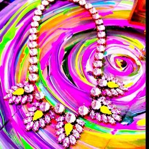 J Crew Neon Yellow Crystal Statement Necklace